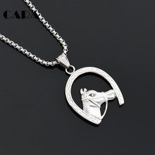 CARA Well polished stainless steel horse head in horseshoe necklace pendant mens personalized hip hop jewelry necklace CAGF0305