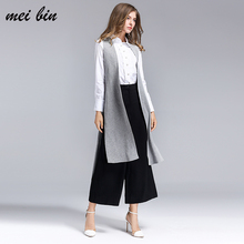 Fashion Sleeveless Knitting fabric Jackets Vests For Women black2017 Office Lady Elegant Long Outerwear Casual brand colete femi(China)