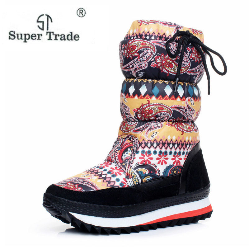 ST SUPER TRADE NEW Fashion Keep Warm Knee High Snow Boots Round Toe Soft Leather Warm Down Winter Thick Fur Winter Shoes ST701<br>