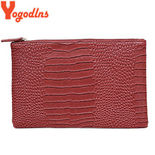 Yogodlns Fashion crocodile grain women's clutch bag leather women envelope bag clutch evening bag female Clutches Handbag
