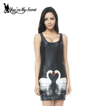 [You're My Secret] 2017  New Fashion Swan Heart-shaped Tank Dress Women's Black Milk Sleeveless Dresses Wholesale
