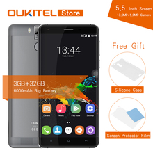 Original Oukitel K6000 Pro 5.5'' Android 6.0 Smartphone MTK6753 Octa Core 3G RAM 32G ROM 6000mAh Fingerprint 16.0MP Mobile Phone(China)