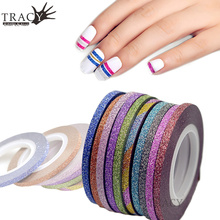 1 Piece 3mm Nail Striping Tape Line For Nails Decorations Pink Colored Nail Art Strips Glitter Tips DIY Image Manicure TRNC390(China)