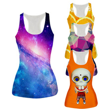 21 Styles New Womens 3D Tank Top Galaxy Space/Orange/Skull/Graphic Print Vest Sleeveless Tee Fashion Bottoming-shirt Dropship(China)