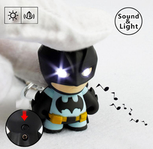 1pcs The Avengers Batman LED Flashlight Action Figure Toys With Sound Keychains Gifts(China)