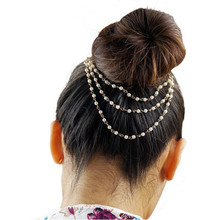 Fashion Hair Accesories Three Layer Chains Tassel Headband Small Pearl Hair Comb