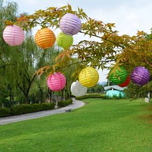 "10pcs 4"" 10cm Chinese Paper Lantern Wedding Party Birthday Decoration White Pink Blue Purple Rose Red Hanging Paper Ball Lampion"