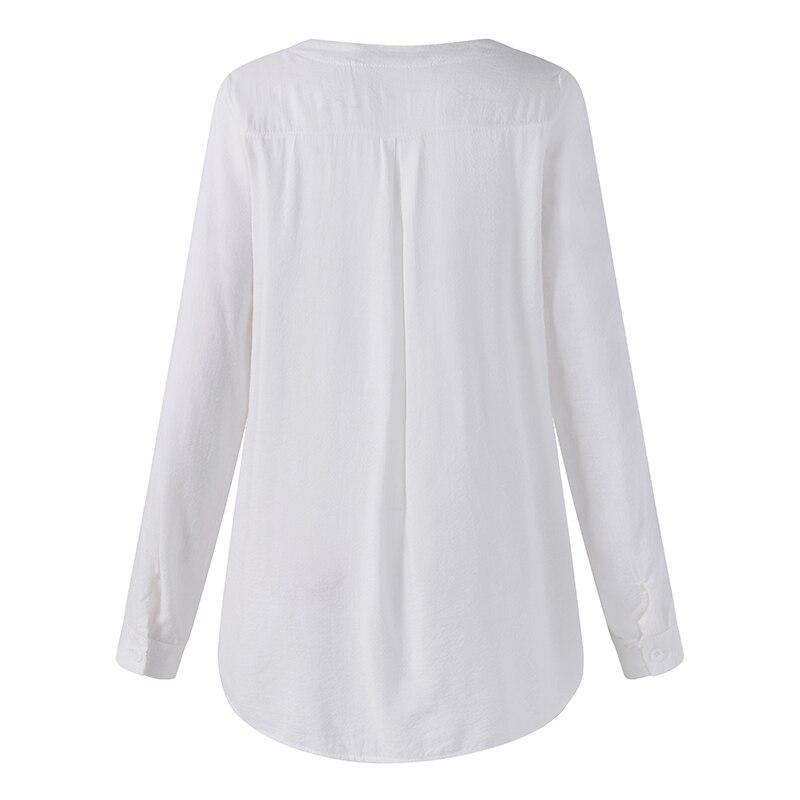 ZANZEA 2018 Summer Women V Neck Embroidery Blouse Autumn Elegant Lace Patchwork Long Sleeve Shirt Loose Top Work Blusa Plus Size 7