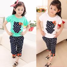 2017 new summer children suit pants Wave point kitty bow cute female children's clothing suits