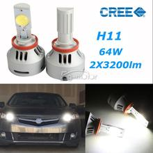 free shiping 3200LM 32W H11 LED Projector Headlight Bulb Fog lamp Bulbs Kit+ Drivers(China)