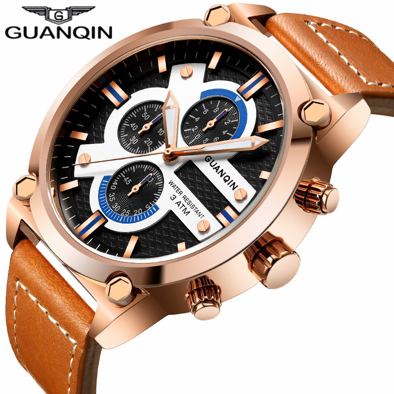 relogio masculino GUANQIN Luxury Mens Sport Chronograph Luminous Quartz Watch Men Military Leather Strap Waterproof Wristwatch<br>