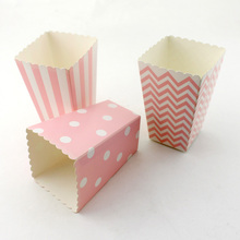 24pcs/lot 11.5*7*5cm pink  Mini Popcorn Boxes Candy box birthday party popcorn boxes bag for Party favor