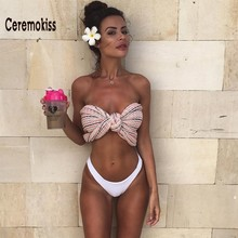 Ceremokiss  2017 New  Bandeau Bikinis Women Swimsuit  Strapless Swimwear Tube Off The Shoulder Sexy Bathing Suits Swimwears