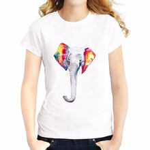 colorful ears white elephant t shirt  Summer Tees Tops Breathable comfort tshirt Short Sleeve O-Neck girls T-Shirts