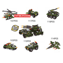 Modern military action 6in1 Armored fighting vehicle building block army figures helicopter fighter tank Hovercraft bricks toys