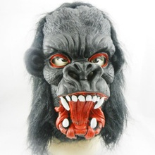 Halloween mask performance dress big ears gorilla mask natural green latex mask