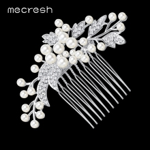 Mecresh Simulated Pearl Bridal Wedding Hair Accessories Leaf Bridal Hair Combs Hairpin Wedding Hair Jewelry for Women FS003(China)