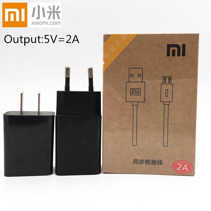 Original XIAOMI Charger EU/US 5V 2A Usb wall Adapter charger &Data cable xiaomi redmi 4x 1s 2s 3s Note 2 3 4 MI 1 2 3 4