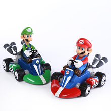 "Super Mario Bros Kart Car Mario Luigi Kart Racing Car PVC Toys 4""10cm set of 2 SMFG017(China)"