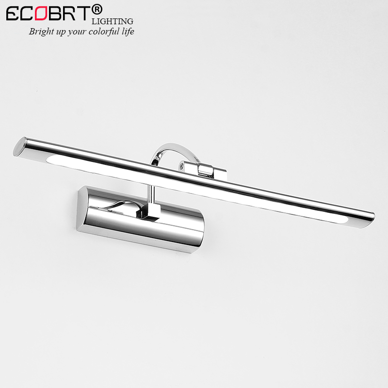 ECOBRT Modern Stainless Steel LED vanity front mirror light bathroom makeup wall mounted sconces lighting fixtures