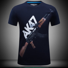 2016 summer Brand Casual Men's animal T-Shirt AK47/Pistol /bear / wolf 3D Printed T-Shirts Men Funny tee shirt Plus Size S-6XL