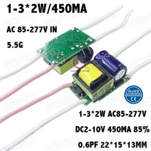 5 Pieces Isolation 5W AC85-277V LED Driver 1-3x2W 450mA DC2-10V  LED Power Supply Constant Current LED Bulb Lamp Free Shipping