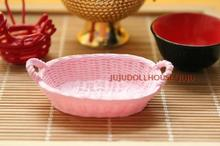 MINI doll house Siwan clay scene with a simulation model mini pink snack vegetable basket