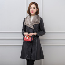Buy 2018 Black Long Women Luxury Mink Collar Genuine Leather Jacket Double Breasted Slim Female Real Sheepskin Coat FREE SHIPPING for $399.99 in AliExpress store