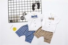 Summer Line Polo Shirts+ Pants 2pcs Set For Baby Boys 1-5Y Classic Grid Formal Style Clothing Set Comfortable Kids Clothing