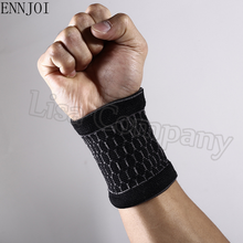 ENNJOI New one pair Nylon Black Wristbands Sport Sweatband Hand Band Wrist Brace Support Gym Volleyball Basketball Wraps Guards(China)