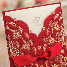 Red Wedding invitation Card, Red Embossing Flowers,Gold Foil, Laser Cut Invitation Cards, Free Customize,CW5113