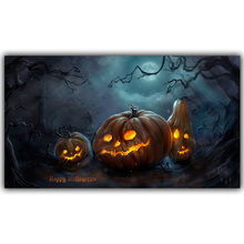 Halloween Poster Pumpkins, Black Cat, Witch's Broom Modern Cartoon Art Picture For Home Decoration Silk Poster and Prints QT052