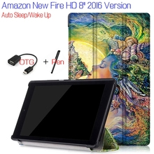 "New Fashion Stand Flip Smart PU Leather eBook Cover for Amazon Kindle New Fire HD 8"" Tablet Case With Magnet+Free OTG+Stylus Pen"