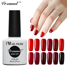 Vrenmol 1pcsUV/LED Color Gel Nail Polish 12 Shining Red Series Colorful Nail Vernis Semi Permanent Gel Lacquer