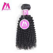 Maxglam Brazilian Afro Kinky Curly Virgin Hair Natural Color Human Hair Weave Bundles Free Shipping(China)