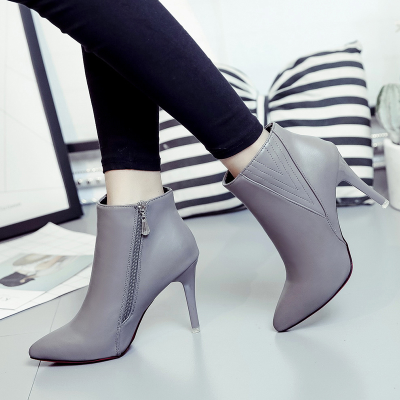 Hot Big size 34-43 Women Short  tube boots Sexy high-heel pointed toes Spring Autumn Winter shoes High-quality 6-24-C<br><br>Aliexpress