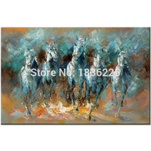 Skilled Artist Handmade High Quality Turquoise Horse Oil Painting on Canvas Five Running Horses Knife Painting for Room Decor