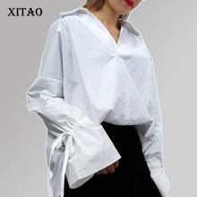 [XITAO] 2017 spring Korea fashion female cuff bow stripe Loose long sleeve blouse casual women V-Neck pullover shirt XM001