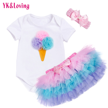 Tutu Baby Birthday Set Summer Short Sleeve Romper Pettiskirt Girls 3 Pcs Clothing Sets 2017 New Arrival(China)