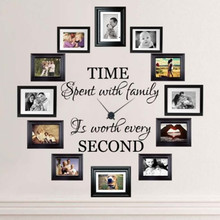 D185 Time Spent with Family is Worth Every Second English Quotes Wall Decal Home Art Sticker Mural for Living Room Decoration(China)