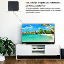 Flat HD TV Amplified Digital Indoor Antenna High Gain 50 Miles Range with Detachable Signal Amplifier 10ft Coax Cable