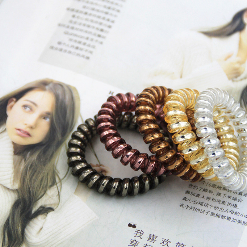 10pcs/lot GG &amp; MM Jewelry hair accessories wholesale metal color bold telephone line Korean hair circle hair rope<br><br>Aliexpress