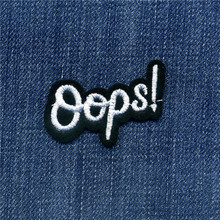 The Black White Oops! Patches Iron On Or Sew Fabric Sticker For Clothes Badge Patch Embroidered Appliques DIY