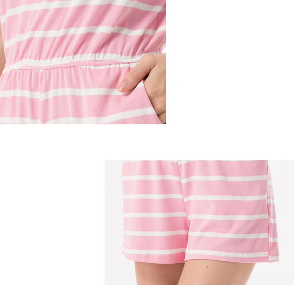 Siskakia mody młodzieżowej Letnie nastolatek dziewczyny Playsuit Przebrania paski patchwork slim fit krótkie elegancki 100% bawełna odzież różowy 29