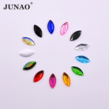 JUNAO 7*15mm Mix Color Crystals Flatback Rhinestone Glue Strass Crystal Stones Non Sewing Horse Eye Acrylic Gems for DIY Crafts