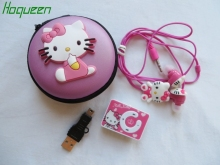 hoqueen 1pc cute Hello Kitty clip MP3 Music Player Support microsd TF Card +Earphone+Mini USB in zipper bag lovely gift(China)