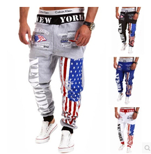 2017 Top Fashion Outdoor Sports Pants Men American Flag Print Hip-hop Sport Trousers Emoji Joggers Sweatpants
