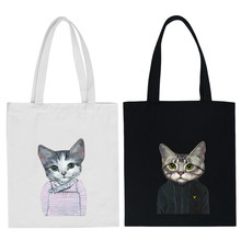 Funny Cat Canvas Bags Women Handbag One Shoulder College Students Portable Eco-friendly Handbags Children Book School Bag(China)