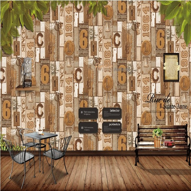 Free Shipping American Retro Nostalgia Wooden Wallpaper Personalized Numbers Wooden Patterns Restaurant bedroom wallpaper<br>
