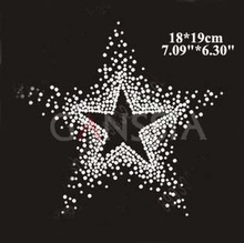 5pcs/lot Bling pentagram rhinestone applique for garment Star hotfix rhinestone heat transfer design on motifs patches!(ss-1533)